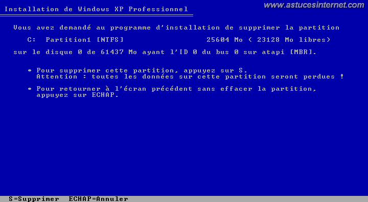 confirmation avant suppression de la partition