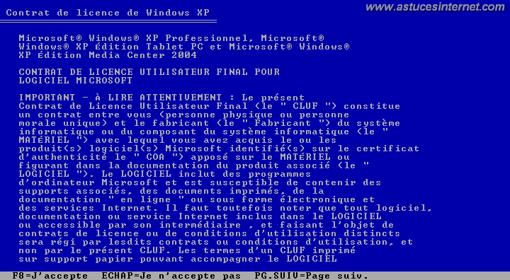 Installation de Windows (CLUF)