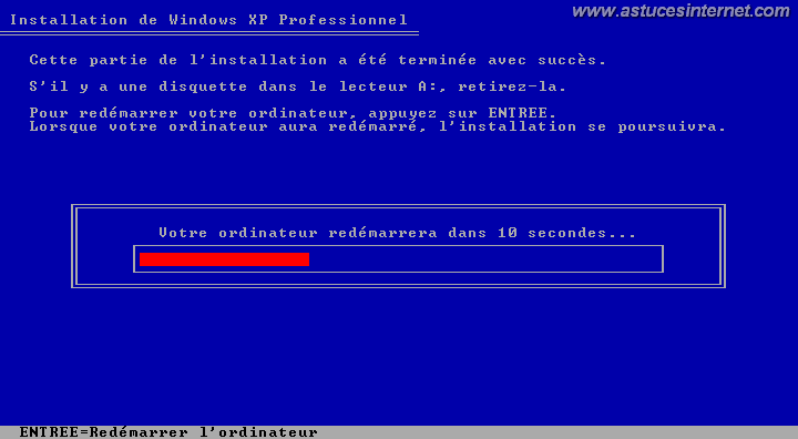 Installation de Windows (redemarrage)