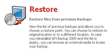 GFI Backup 2009 : Restore