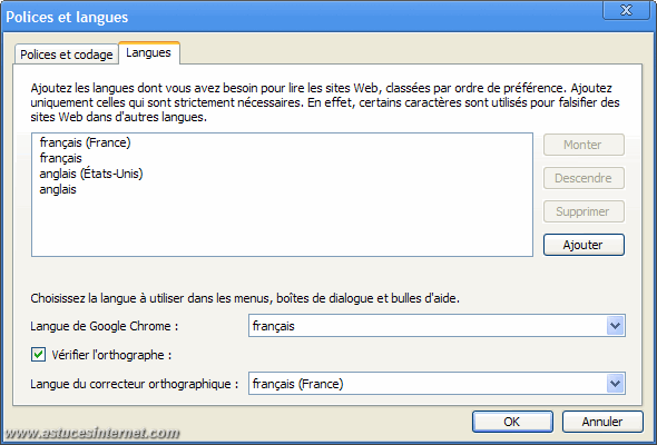 Options de langue