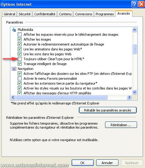 Désactiver ClearType
