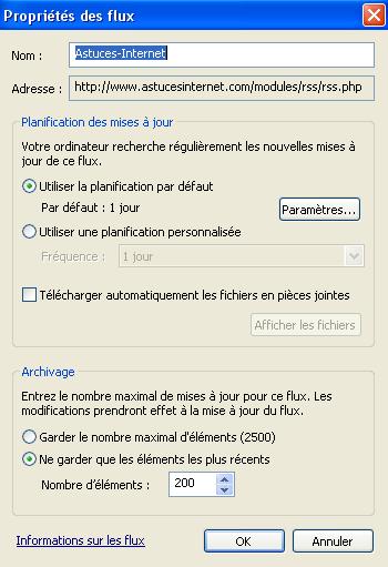Paramétrer la vérification des flux RSS