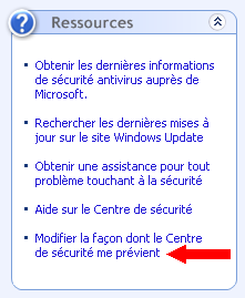 Options d'alertes du centre de sécurité de Windows