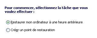 Choix du menu restauration système