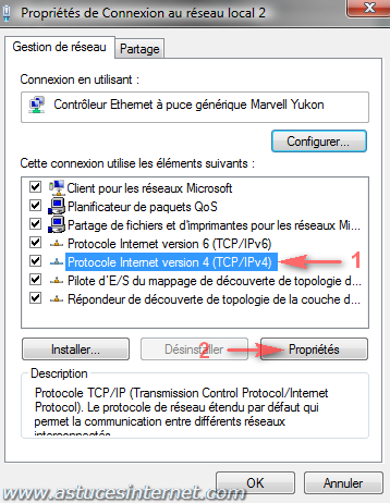 Vista : Paramétrage connexion TCP/IP v4