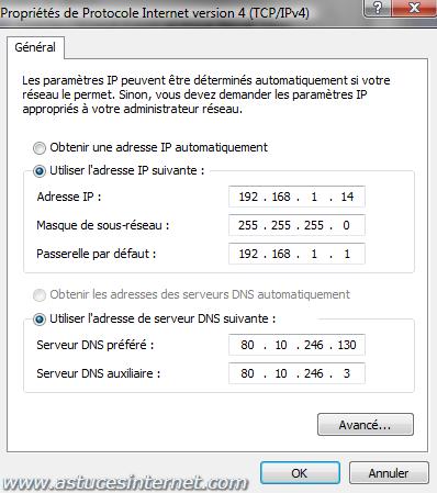 Vista : Paramétrer l'IP fixe