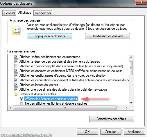 Afficher les fichiers et dossiers cachés