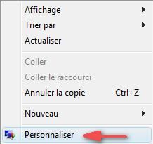 menu contextuel : Personnaliser