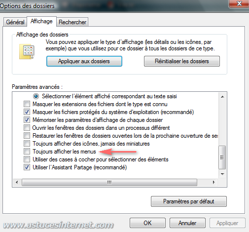Afficher la barre de menu dans Windows Vista