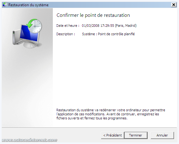 confirmation du point de restauration