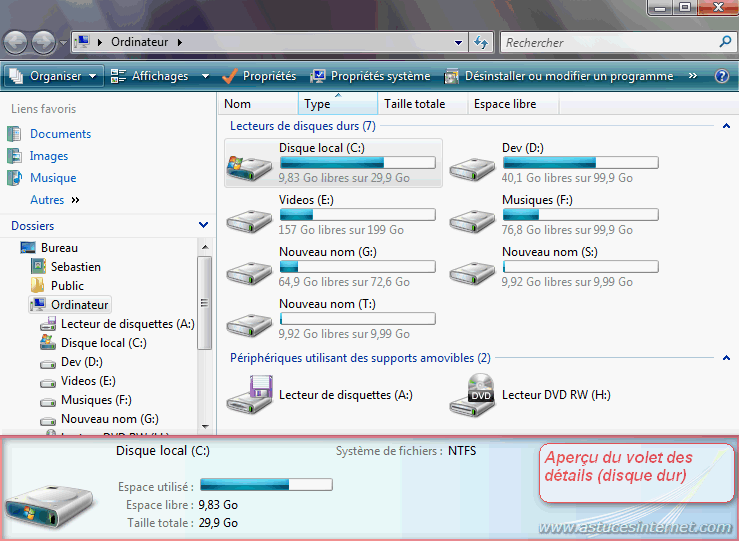Volet des détails (sur un disque dur)