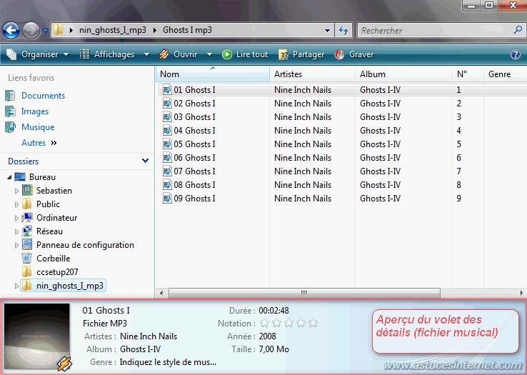 Volet des détails (sur un fichier musical)