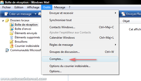 Windows Mail : Menu outils - Comptes
