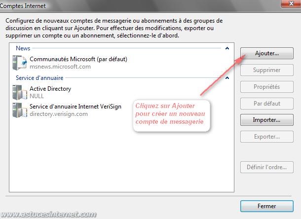 Windows Mail : Ajouter un compte