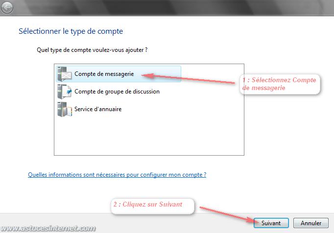 Windows Mail : Ajouter un compte de messagerie