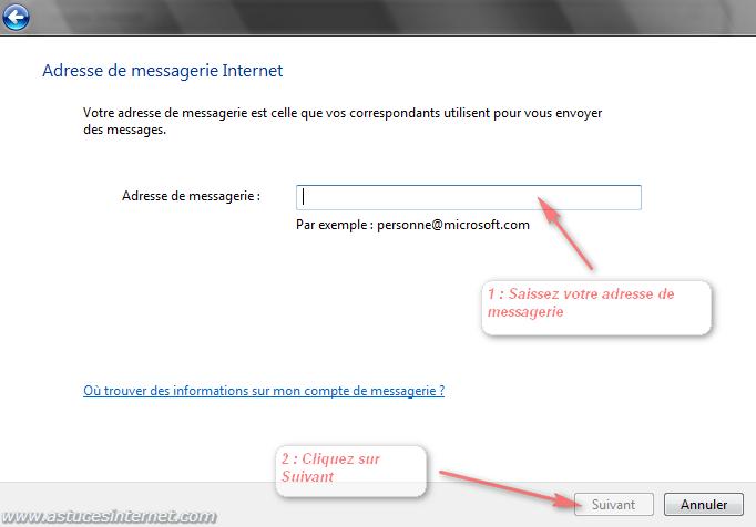 Windows Mail : Saisir l'adresse Email