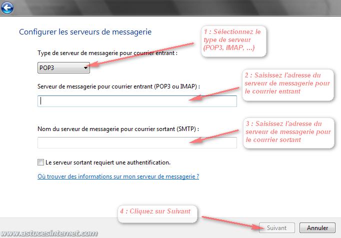 Windows Mail : configurer les serveurs