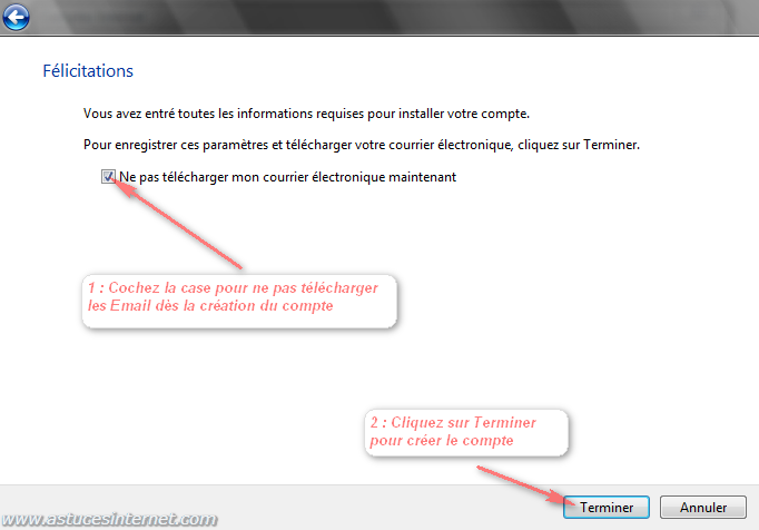 Windows Mail : Terminer l'installation