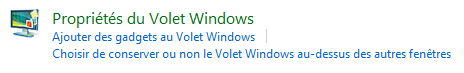 Propriétés du Volet Windows