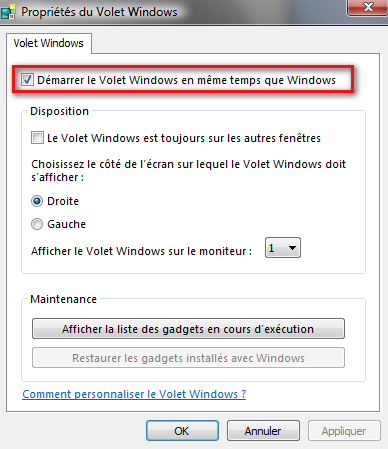 Option du Volet Windows
