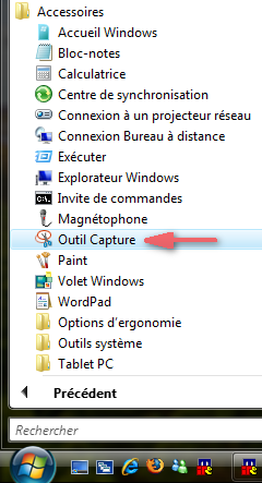Outils de capture d'écran de Windows Vista
