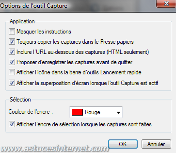 Options de l'outil de capture