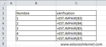 Fonction Excel - EST.IMPAIR