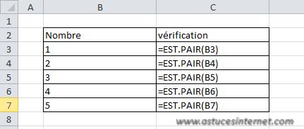 Fonction Excel - EST.PAIR
