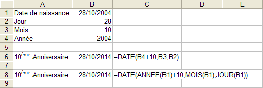 Excel : Fonction DATE