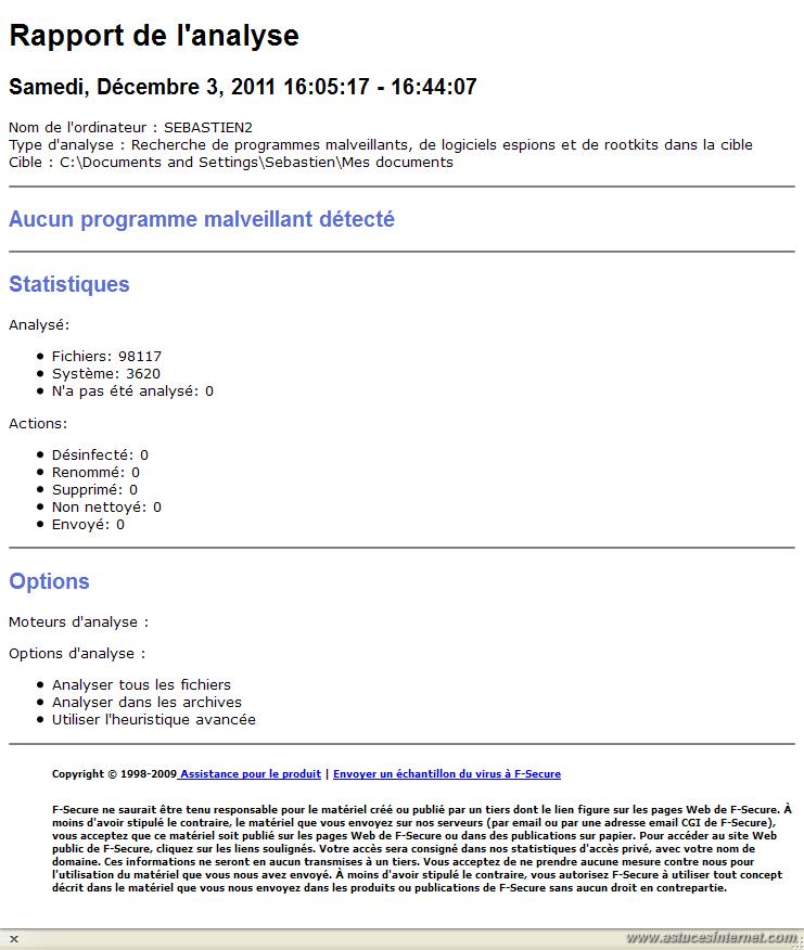 F-Secure Free Online Scanner