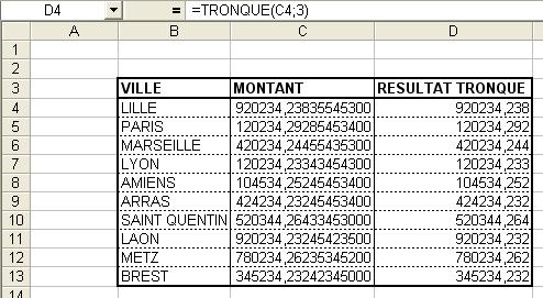 Excel : Fonction TRONQUE