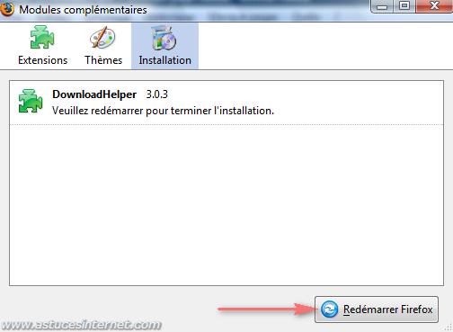 Redémarrage de Firefox nécessaire