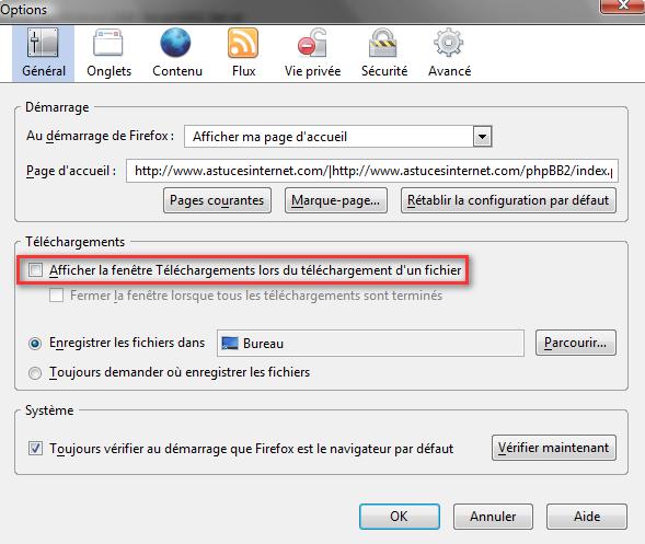 Désactivation de la fenêtre de téléchargement par défaut