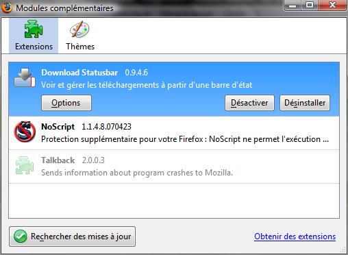 Paramétrage de Download Statusbar