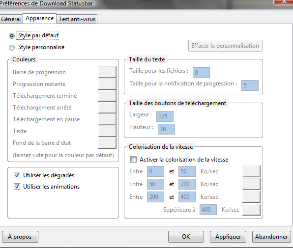 Options de Download Statusbar : Onglet Apparence