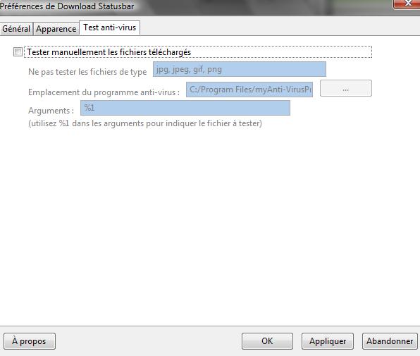 Options de Download Statusbar : Onglet Test anti-virus