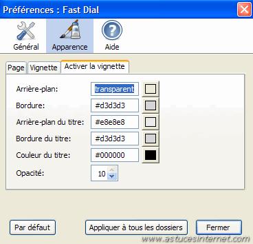 Préférences de Fast Dial