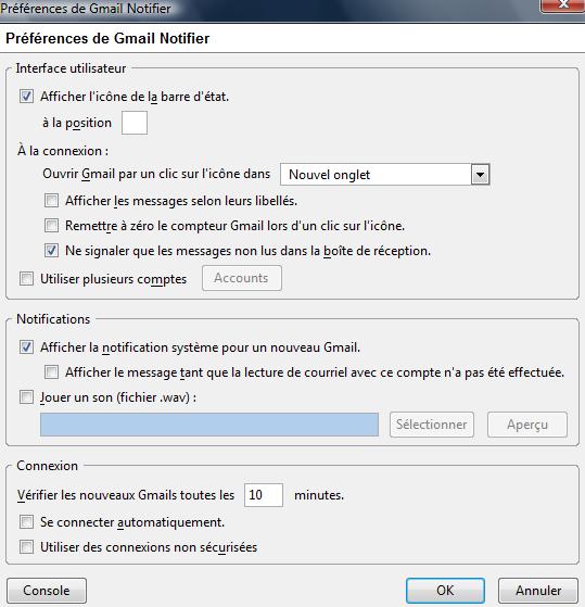 Panneau de configuration de Gmail Notifier