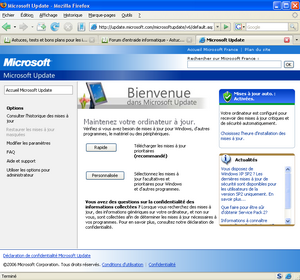 Interface de IE Tab