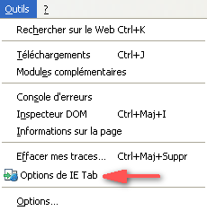 Menu Options de IE Tab dans le menu Outils