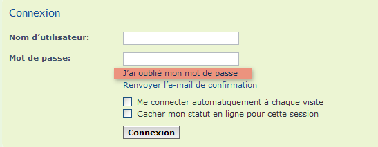 Récupération mot de passe