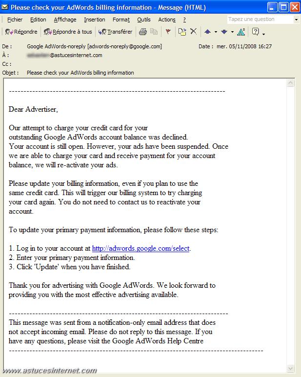 Aperçu du mail