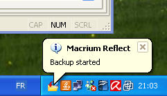 Macrium Reflect : Création backup