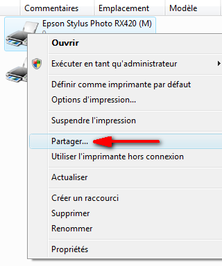 Partager l'imprimante (menu contextuel)