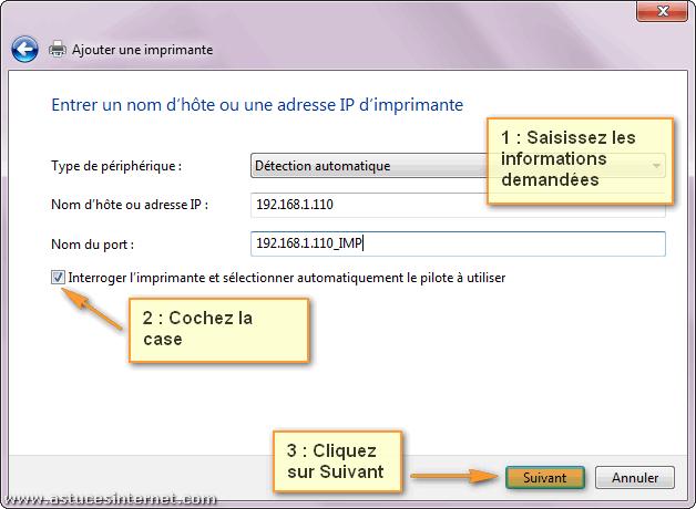 Installation imprimante réseau sur Windows 7