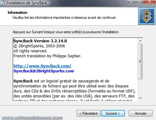 Installation de SyncBack - Etape 2