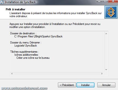 Installation de SyncBack - Etape 6