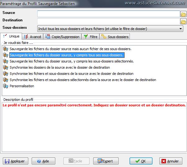 Interface de paramétrage des options de sauvegarde