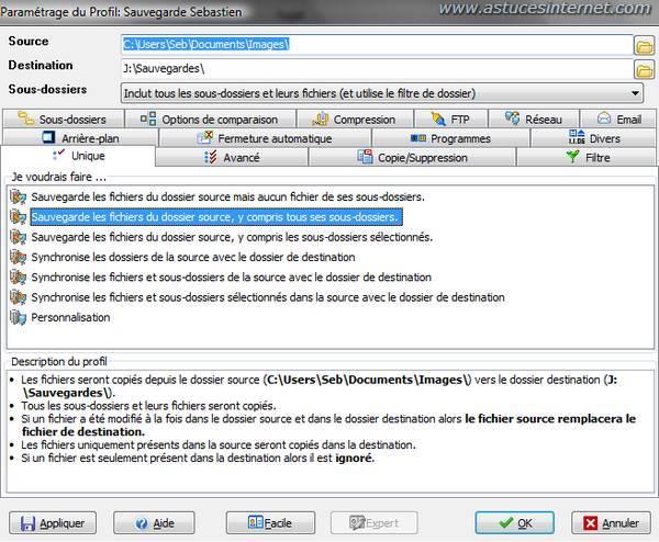 Interface de SyncBack en mode Expert